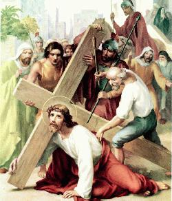 Stations of the cross - Way of the cross - Jesus falls the first time