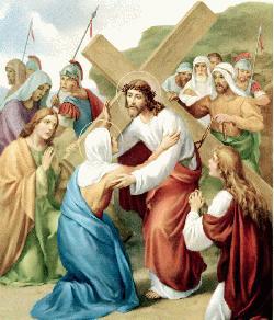Resultado de imagen de Cuarta Estación: JESÚS SE ENCUENTRA CON SU MADRE