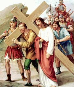 Stations of the cross - Way of the cross - Simon helps Jesus