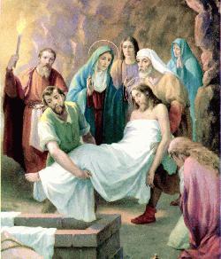 ESTACIONES DE LA CRUZ - VIACRUCIS - Jesús es llevado al sepulcro